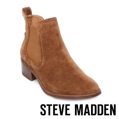 STEVE MADDEN-DICEY 真皮雀爾喜靴-絨深棕