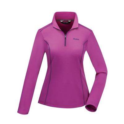 【ATUNAS 歐都納】女款透氣吸濕排汗長袖保暖POLO衫A1-P1722W紫紅