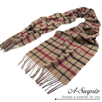 A-Surpriz-紅黑條格紋厚織純羊毛圍巾-米格