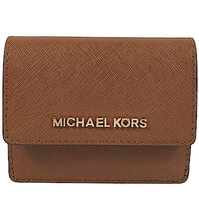 MICHAEL KORS JET SET防刮牛皮扣式零錢夾(咖)