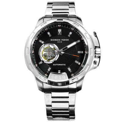 GIORGIO FEDON 1919 自動兼手動上鍊機械錶不鏽鋼手錶-黑色/46mm