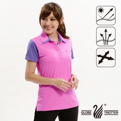 【遊遍天下】女款抗UV吸濕排汗機能POLO衫GS10014玫瑰粉