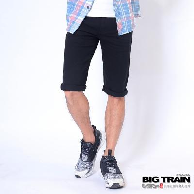 BIG TRAIN中大尺碼 加大黯黑家徽短褲-男-黑色
