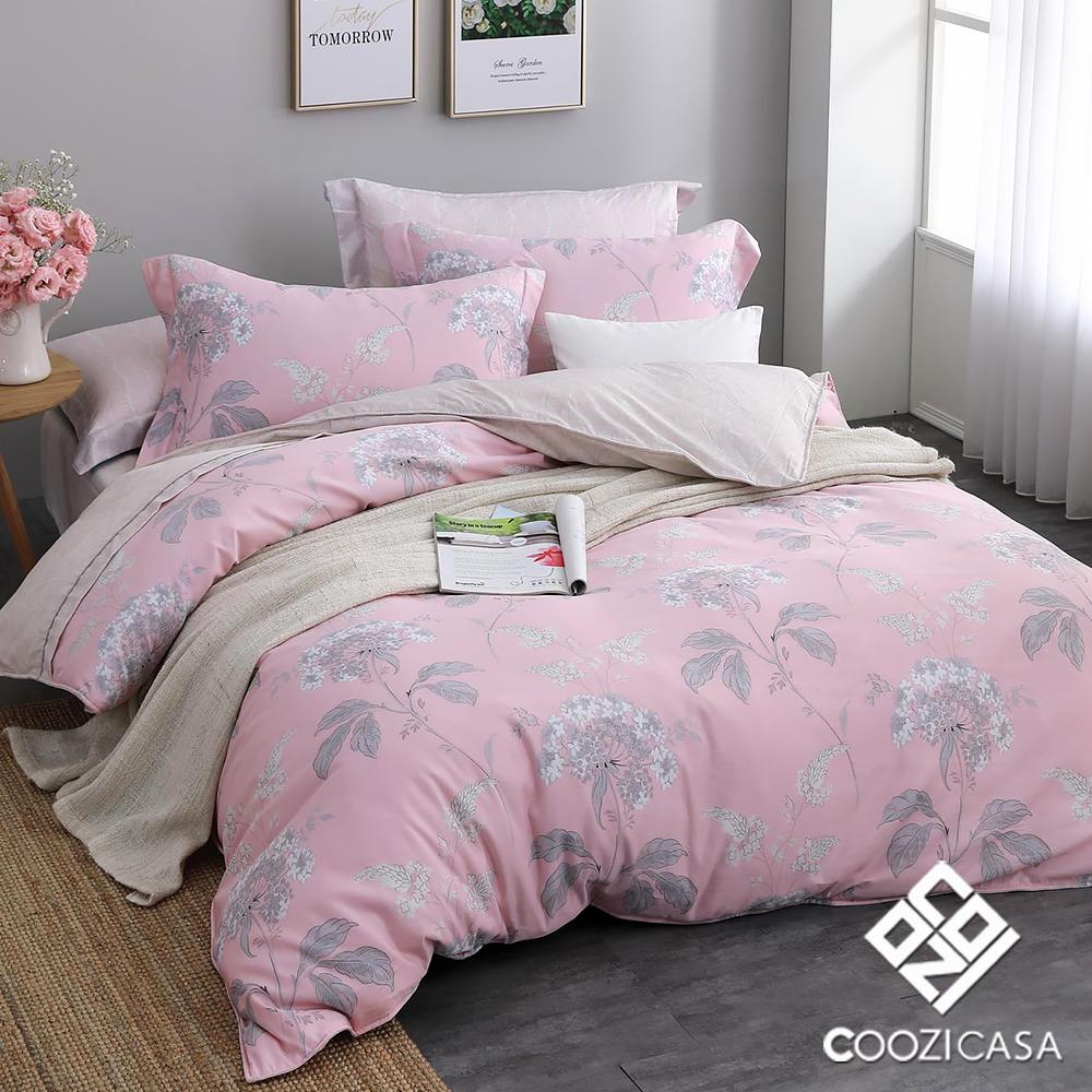 COOZICASA花顏巧語 雙人四件式吸濕排汗天絲兩用被床包組