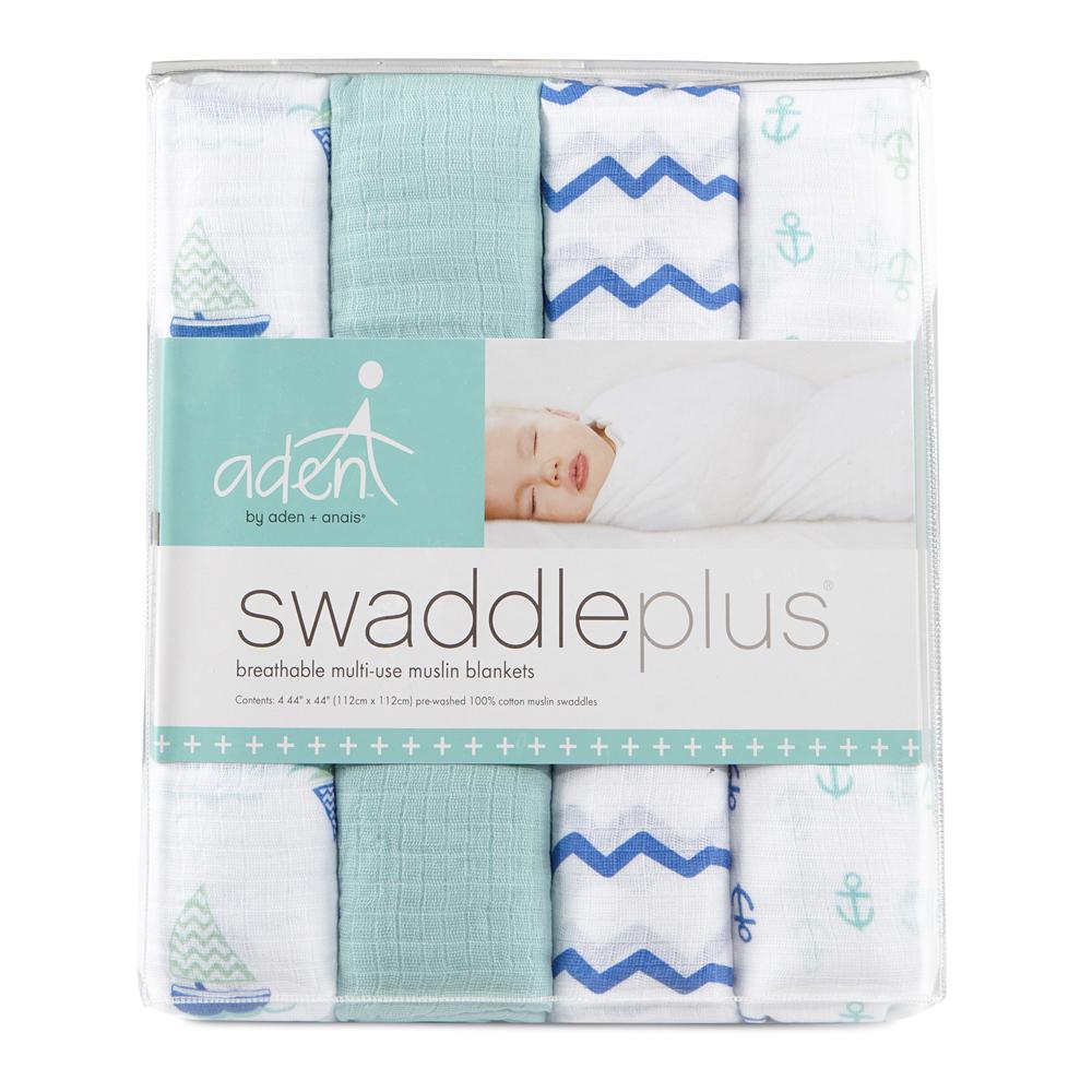 【美國aden+anais】新生兒外出包巾(4入)-海洋藍系列AA-S118