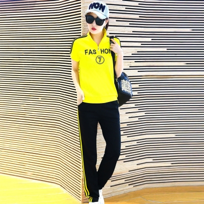 韓系-英字線條立領上衣-長褲運動套裝組-共四色-9
