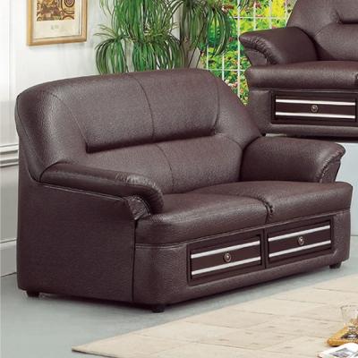 品家居  辛蒂咖啡色皮革雙人座沙發
