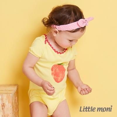 Little moni 水彩暈染草莓包屁衣   黃色