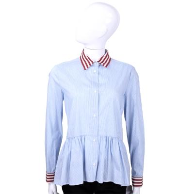 RED VALENTINO 藍白色條紋拼接長袖上衣