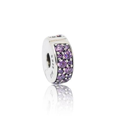 Pandora 潘朵拉 紫色鑲鋯水晶扁狀夾扣式 純銀墜飾 串珠