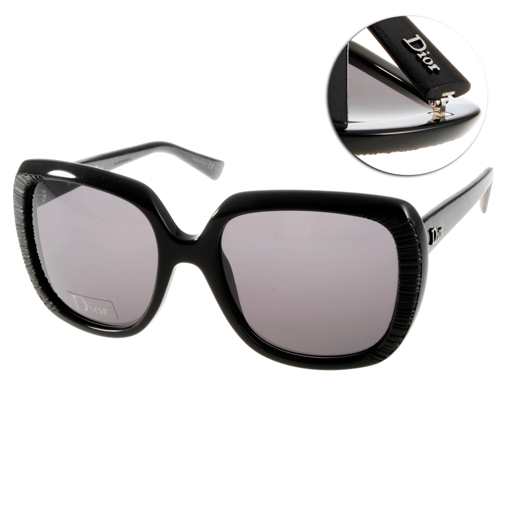DIOR太陽眼鏡 典雅皮革系列/黑#TAFFETAS1 648Y1
