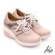 A.S.O 抗震美型 牛皮綁帶奈米楔型休閒鞋 粉紅色 product thumbnail 1
