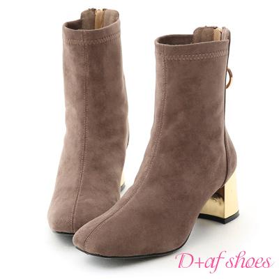 D+AF 奢華冬日.顯瘦感後拉鍊金屬跟襪靴*灰