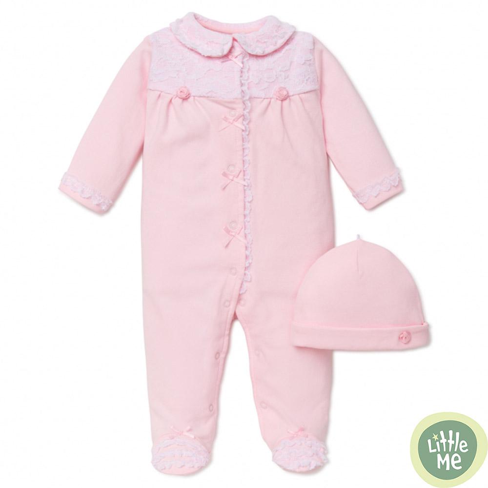 Little Me 粉色玫瑰蕾絲長袖包腳連身衣