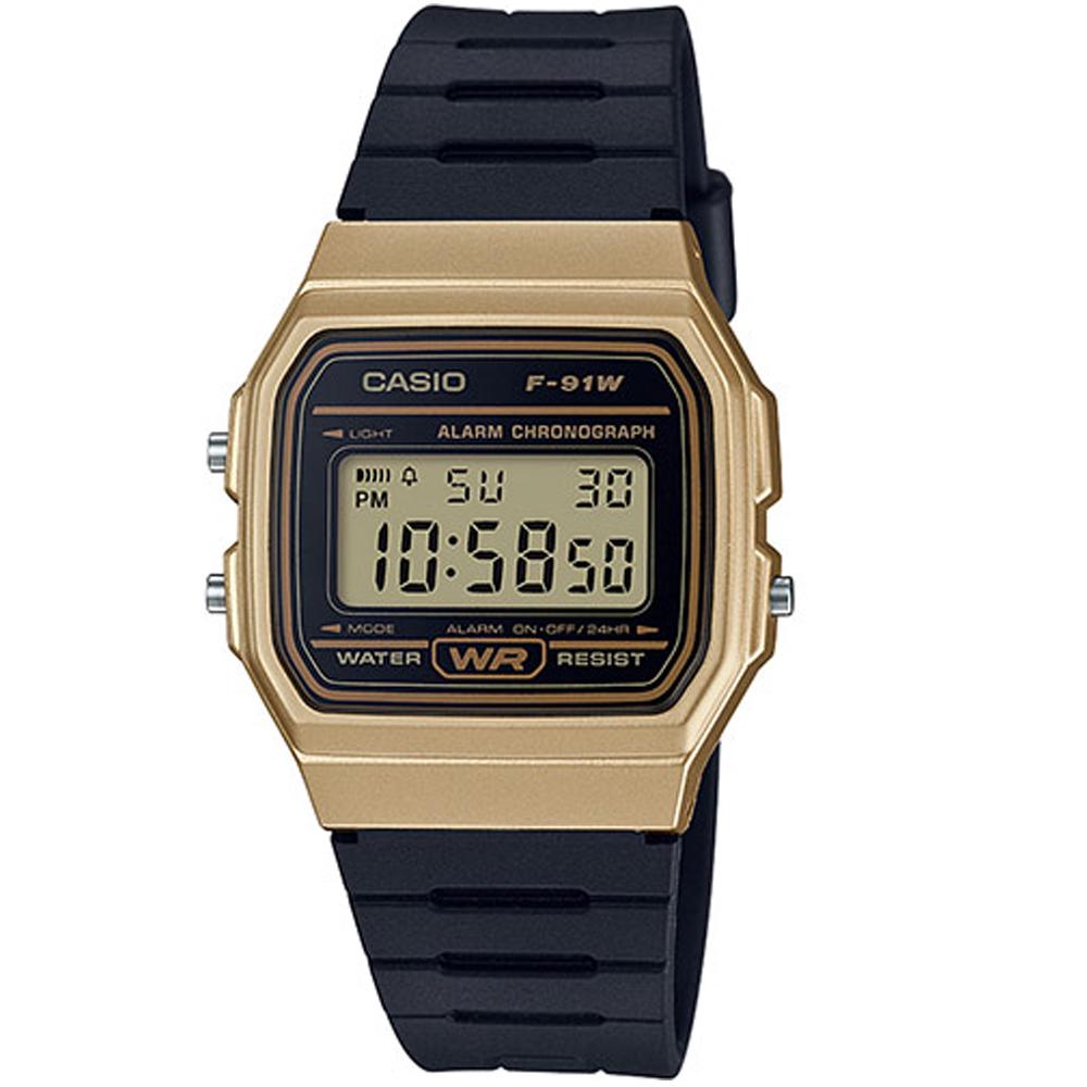 CASIO 運動小子電子錶(F-91WM-9A)-黑x金框-35mm