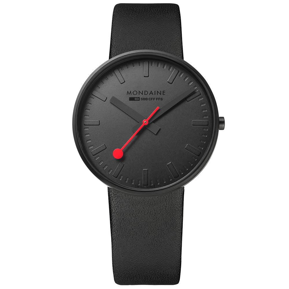 MONDAINE 瑞士國鐵Giant大錶面限量腕錶/42mm-純黑