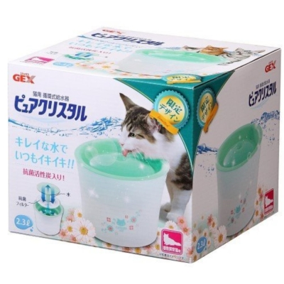 GEX 綠色限定款 全貓用淨水飲水器 2.3L 附一片濾網
