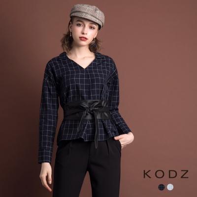 東京著衣-KODZ 雜誌款V領修身格紋設計上衣-S.M.L(共二色)