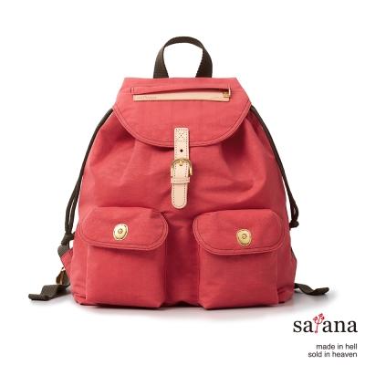 satana-小休閒束口後背包-漿果紅