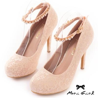 Mori girl水鑽繫帶滿版手工蕾絲高跟婚鞋 粉