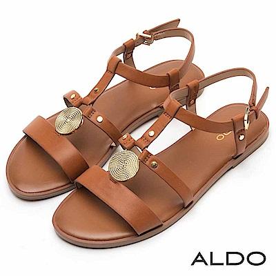 ALDO 原色幾何金屬交叉鏤空鉚釘釦繫帶涼鞋~都會焦糖
