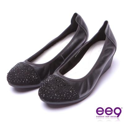 【ee9】甜美名媛~璀璨光芒晶鑽舒適輕量微坡跟包鞋*黑色