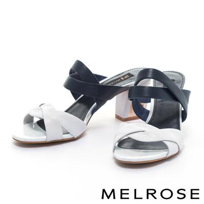 拖鞋-MELROSE-環繞交叉繫帶造型羊皮高跟拖鞋-白