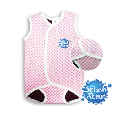 《Splash About 潑寶》BabyWrap 包裹式保暖泳衣 - 粉紅格紋