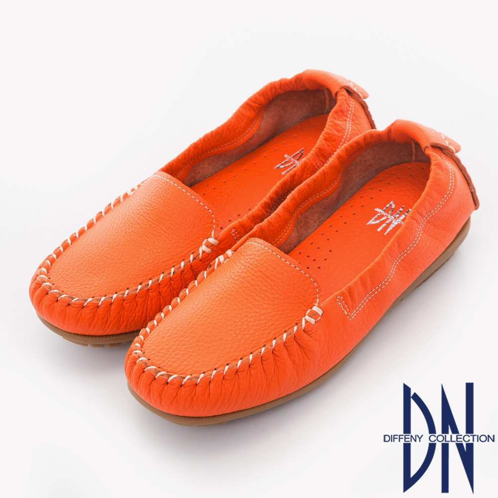 DN 舒適柔軟 全真皮手工縫線莫卡辛豆豆鞋-橘