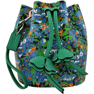 COACH 藍色花朵圖樣水桶手提包