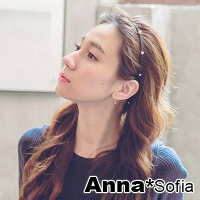 AnnaSofia-雙珠釘墬兩用細款-彈性髮帶髮圈髮束-黑系
