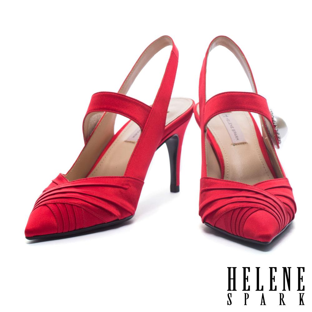 高跟鞋 HELENE SPARK 奢華復古白鑽珍珠設計絲緞尖頭繫帶高跟鞋-紅