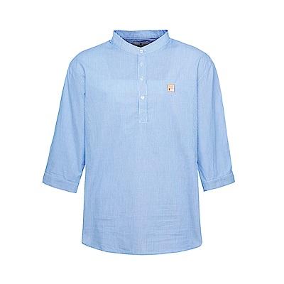 FILA 男款純棉七分袖襯衫-藍 1WSS-1706-LB