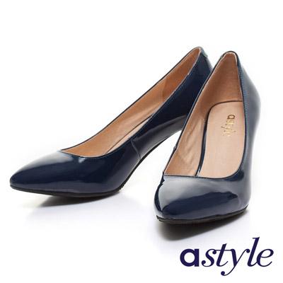 astyle-金屬跟亮面漆皮尖頭高跟鞋-藍