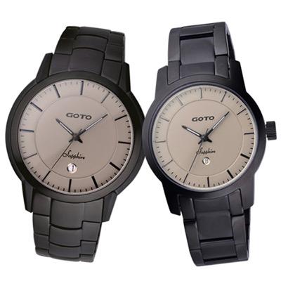 GOTO 悠遊自在輕薄時尚對錶-黑灰