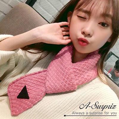 A-Surpriz-精緻三角縫標針織窄版圍巾-粉