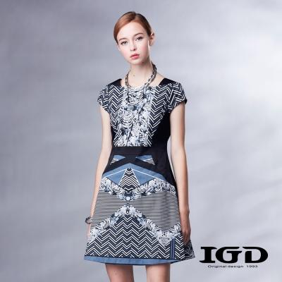 IGD英格麗-復古緞花修身短袖洋裝