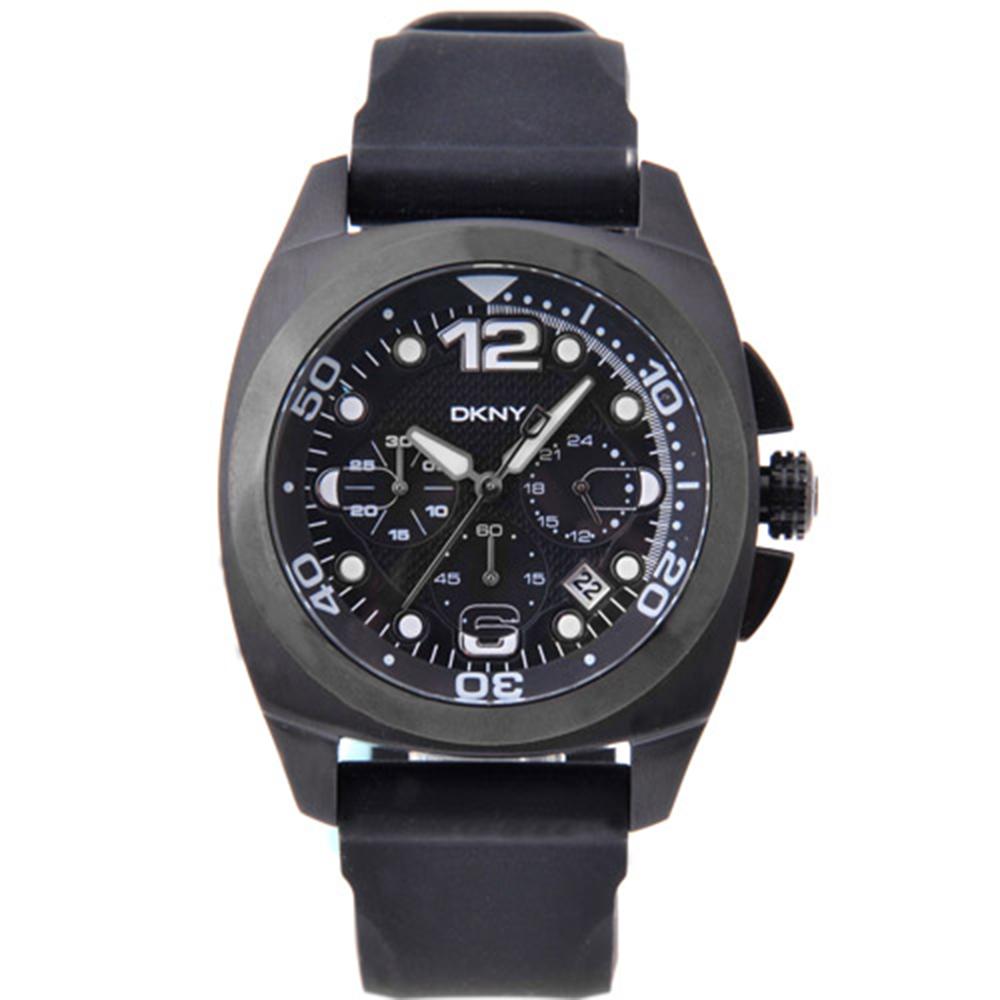 DKNY  嘻哈三眼計時橡膠腕錶-黑/44mm