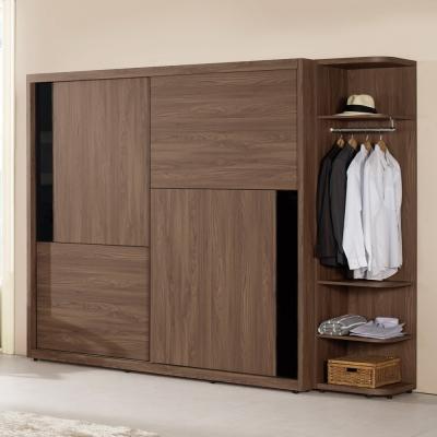 Boden-洛克8.6尺衣櫃組合(拉門+開放式)-257x60x207cm
