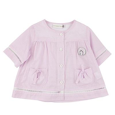 愛的世界 純棉小兔格紋五分袖小外套/6M~3歲