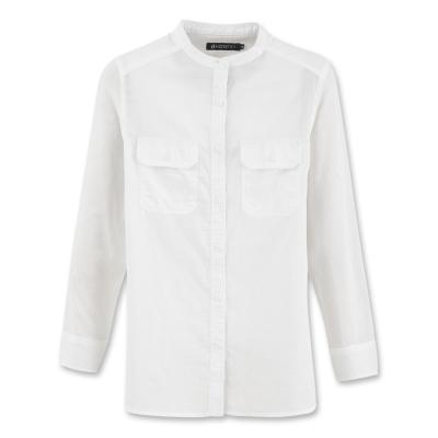 Hang Ten - 女裝 - 都會時尚小立領長袖襯衫-白