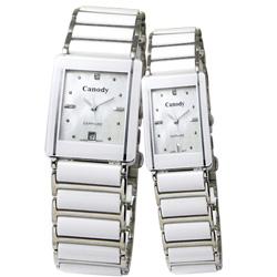 Canody 珍愛時光陶瓷對錶-白