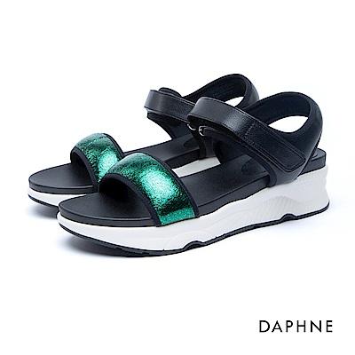 達芙妮DAPHNE 涼鞋-一字金蔥魔鬼氈厚底涼鞋-綠