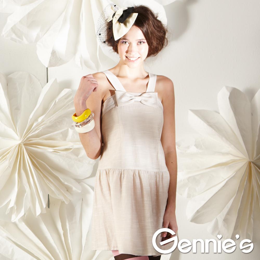 【Gennie's奇妮】可愛蝴蝶結孕婦背心洋裝-粉膚(G1128)