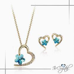 伊飾晶漾iSCrystal 鑲鑽梅之心 水晶耳環項鍊組 藍