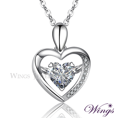Wings 簡單愛 項鍊 925純銀精鍍白K金搭配方晶鋯石