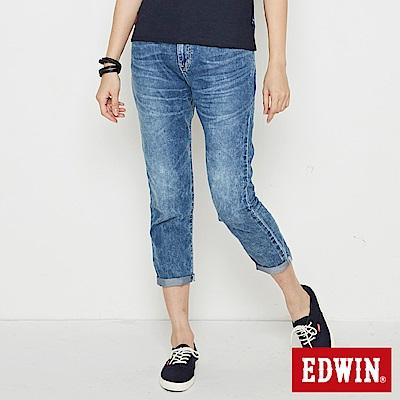 EDWIN MISS九分小直筒牛仔褲-女-漂淺藍