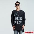 BOBSON  男款長版字母印圖潮T-黑色