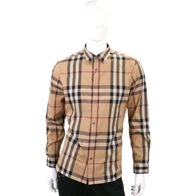BURBERRY 格紋伸縮棉質長袖襯衫(男款/駝色)