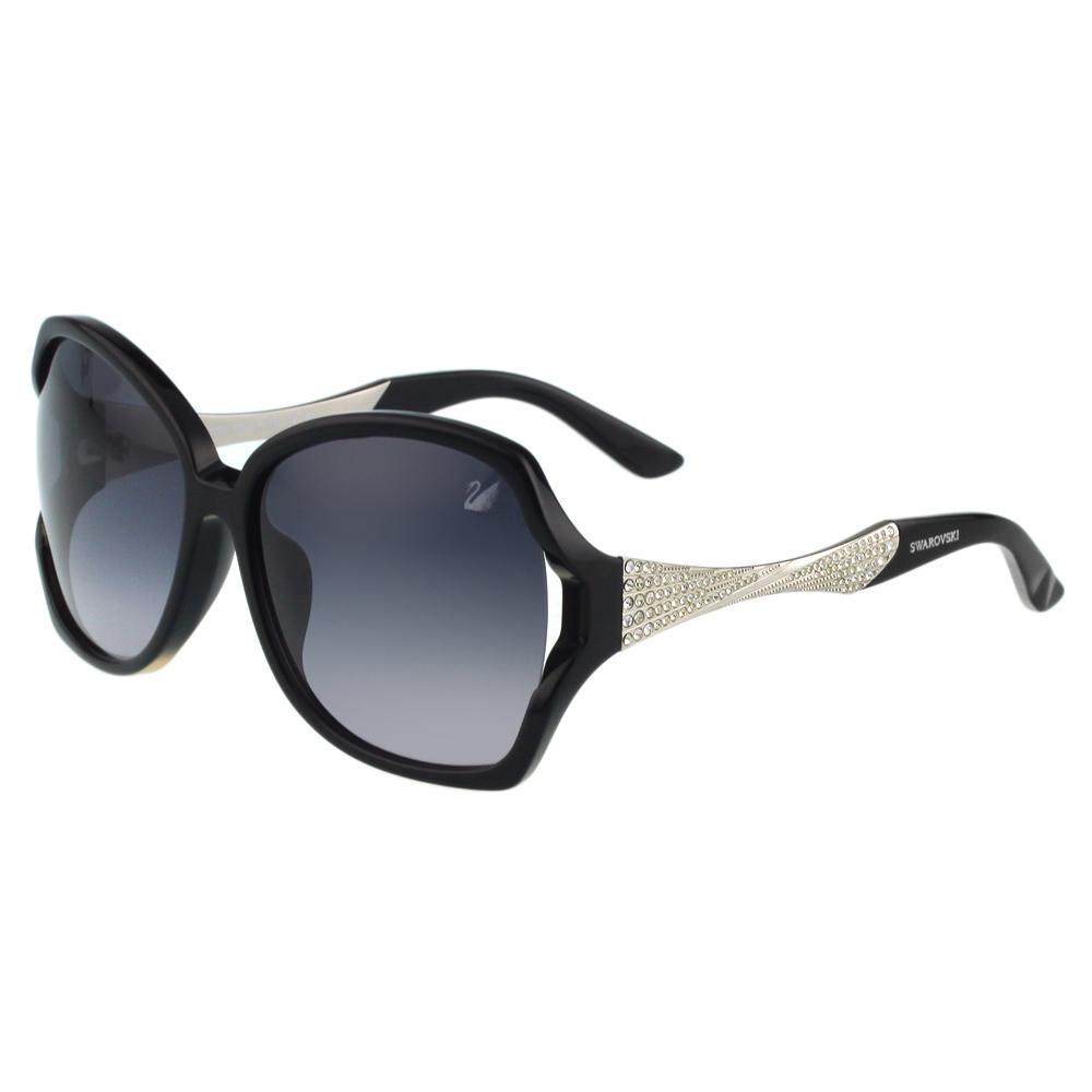 SWAROVSKI-方框水鑽 太陽眼鏡(黑色)SW9065